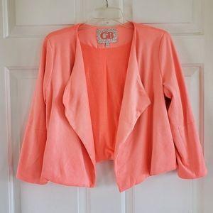 GB/ Coral Faux Suede Crop Jacket